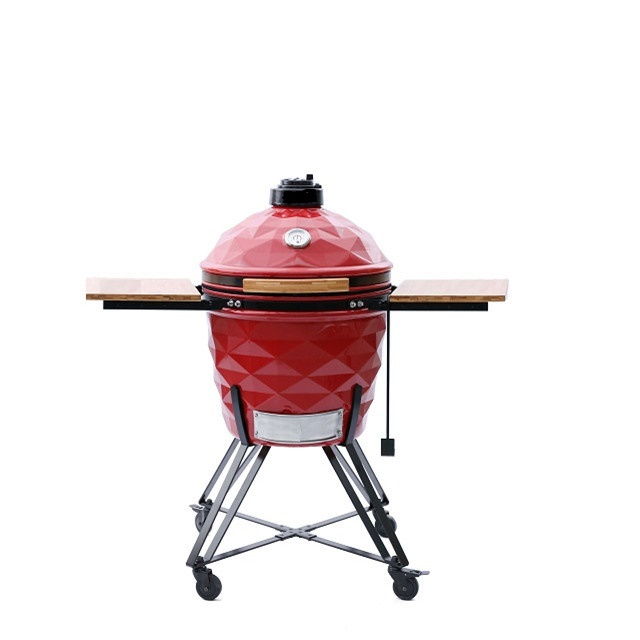 Red outdoor 22inch ceramic kamado bbq grill MCD-2200D